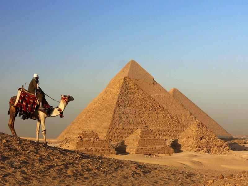 ギザのピラミッドの周りにラクダ