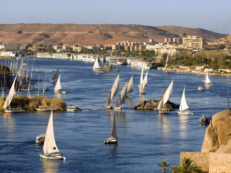 Aswan feluccas on the nile