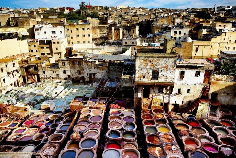 Curtidurías de cuero en Fez