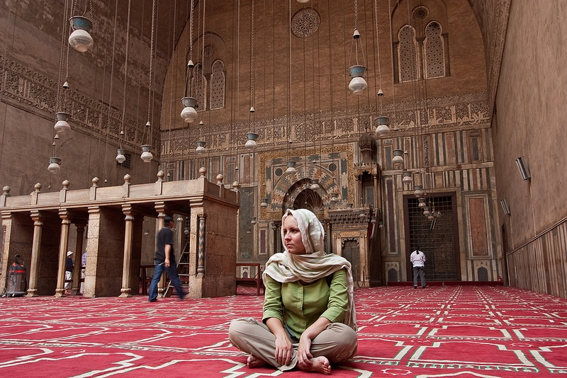 Inside Al-Hakim Mosque in Cairo