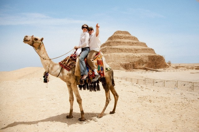 Camel Ride around Djoser Step Pyramid, Egypt