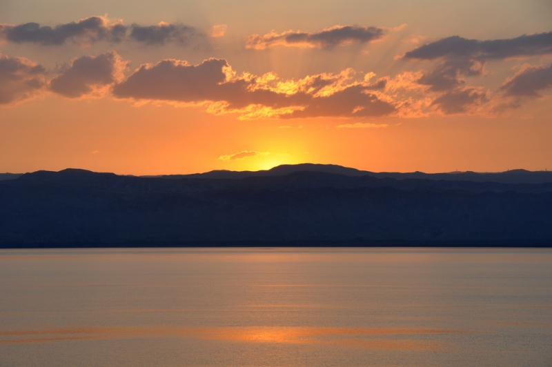 Beautiful Sunset at the Dead Sea