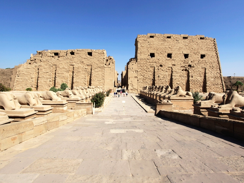 The Avenue of Sphinx at the entrance of karnak Temple