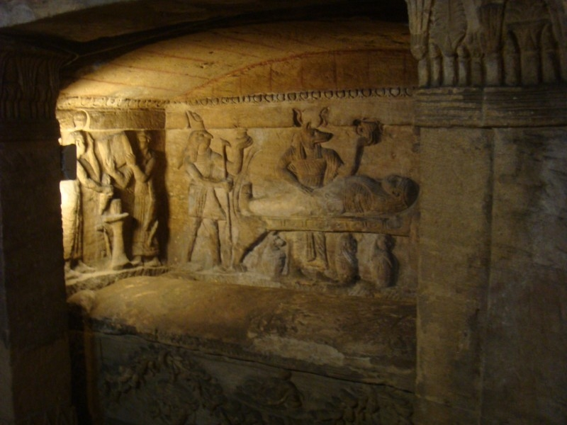 Mummification Scene Inside the Catacombs of Kom el-Shuqafa