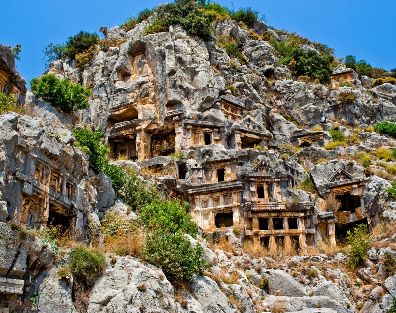 Rock-cut tombs and ancient theatre in Myra (Demre, Turkey)