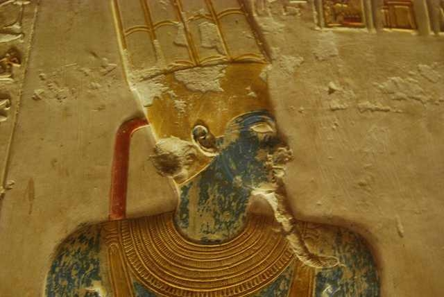 A Pharaoh Relief at Abydos Temple