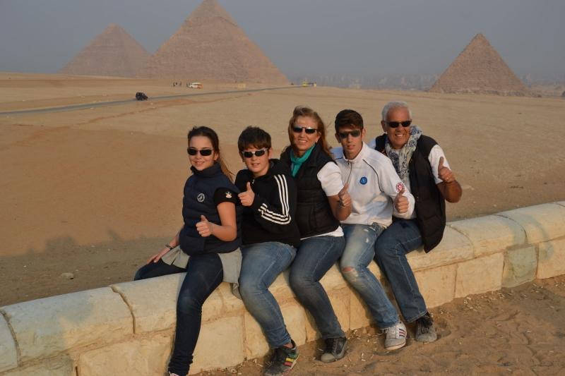 Family at Giza Pyramids