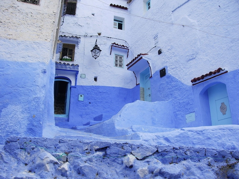 Whitewashed Houses with Blue Turquoise Doors