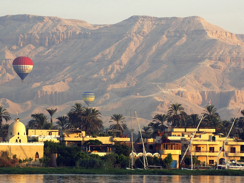 Hot Air Balloon in Luxor During Sunset