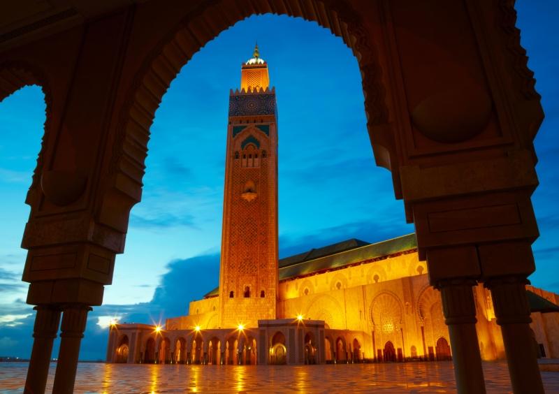 Anochecer en la Mezquita Hassan II