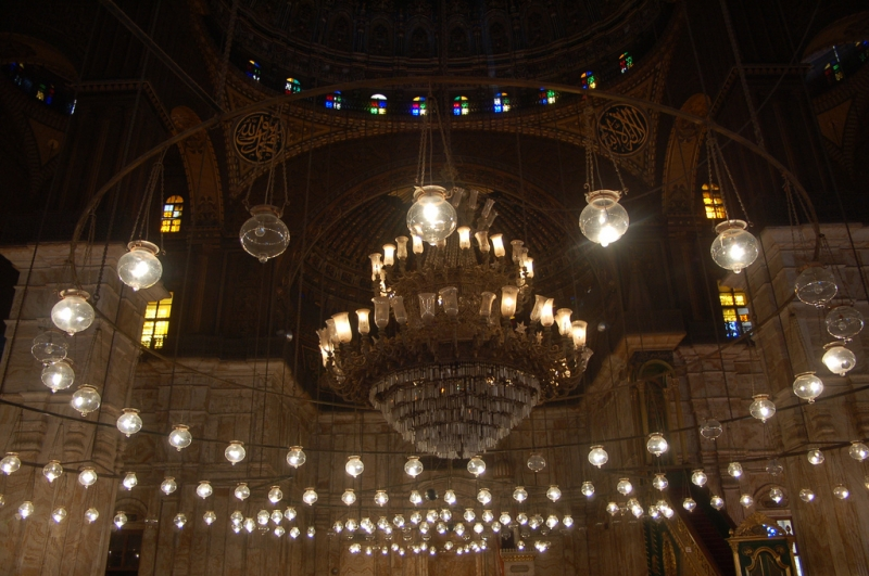 Mohammad Ali Mosque Interior and Hanged Lanterns