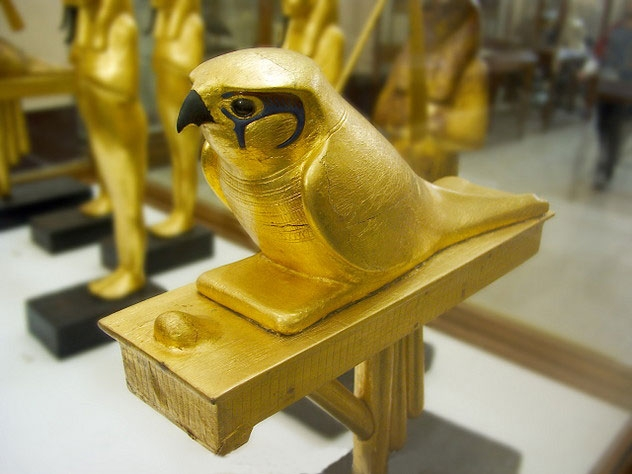 Golden Falcon Statue of Horus Goddess in The Egyptian Museum