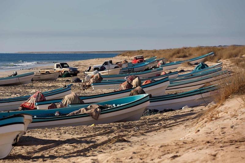 Beach Fishing Boats in Salalah