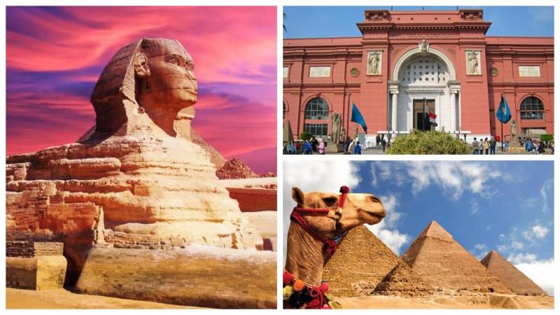 Esfinge, Pirámides de Guiza, Museo Egipcio.
