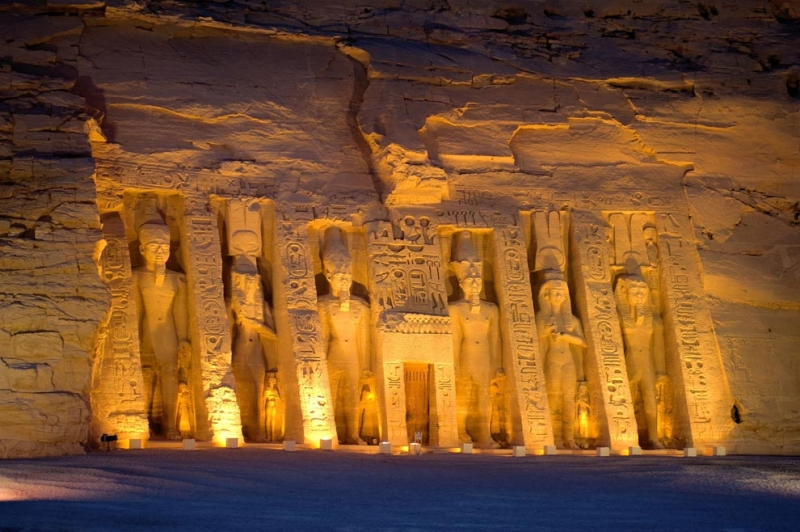 The Temple of Queen Nefertari At Night