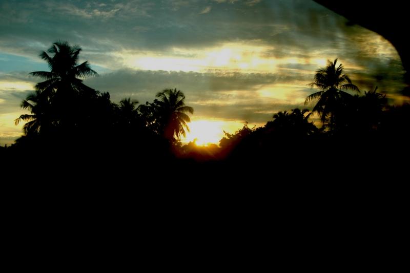 Sun Set from a window of sleeper train
