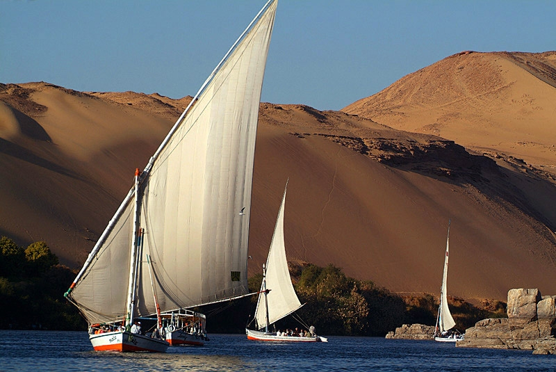 Felucca Sailing on the Nile, Aswan