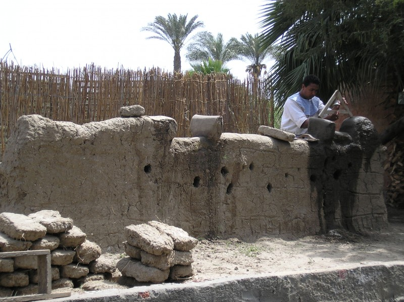 Demonstrating Ancient House Building in The Pharaonic Village