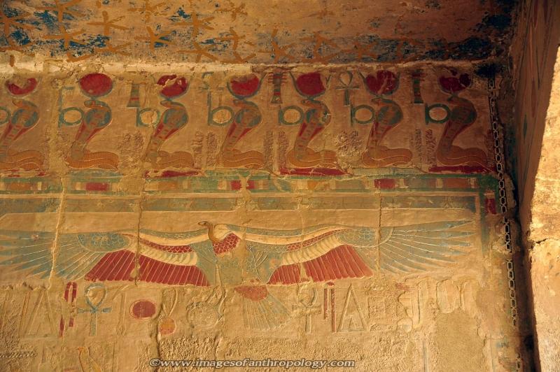 Wall Paintngs inside Hatshepsut's Temple  in Luxor