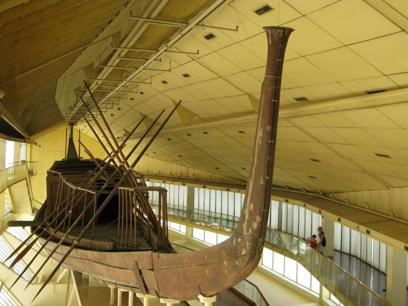 Inside Solar Boat Museum at the Pyramids