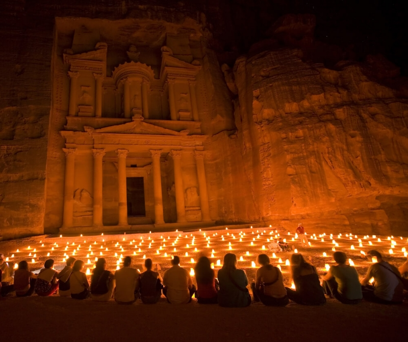 Petra in Jordan by Night