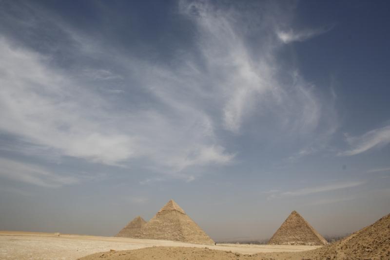 Panorama view of Giza Pyramids