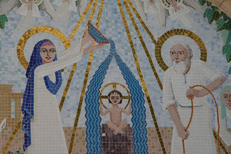 Mosaic of Jesus Christ, St. Mary and St. Joseph
