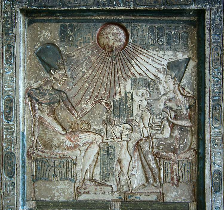Akhenaten, Nefertiti and three daughters