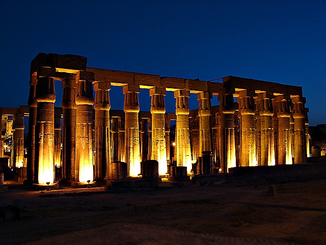 Luxor Temple by Nigh in Upper Egypt