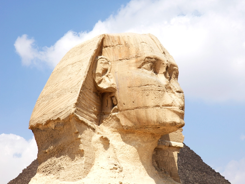 Close Up of Sphinx Statue at Giza Pyramids