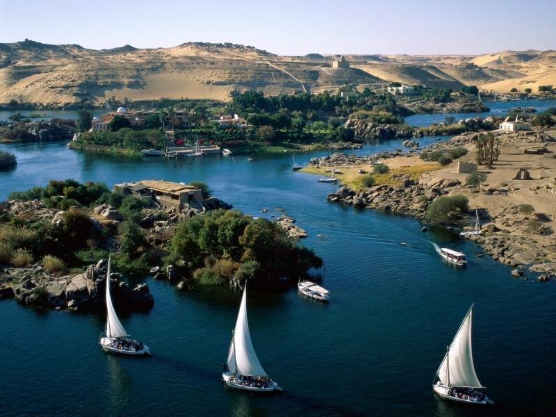 Nile Felucca Sailing in Aswan, Egypt