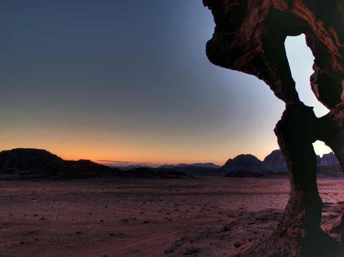 La puesta del sol en Wadi Rum
