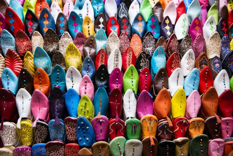 Colorful Slippers for Sale in Marrakech