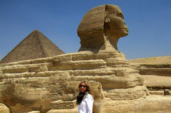 The Great Sphinx of Giza, is the oldest known monumental sculpture and built during the reign of the pharaoh Khafra