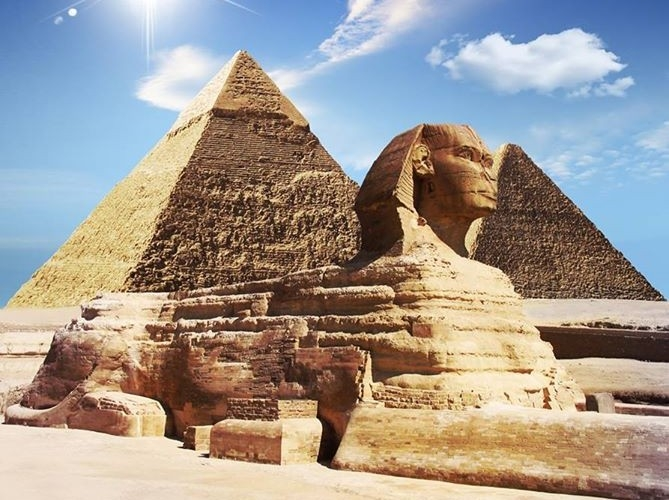 The Great Sphinx and the Pyramids in Giza
