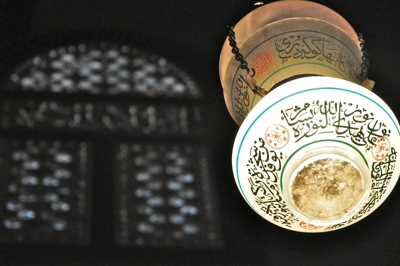 Glass Lantern inside Sultan Hassan Mosque, Cairo