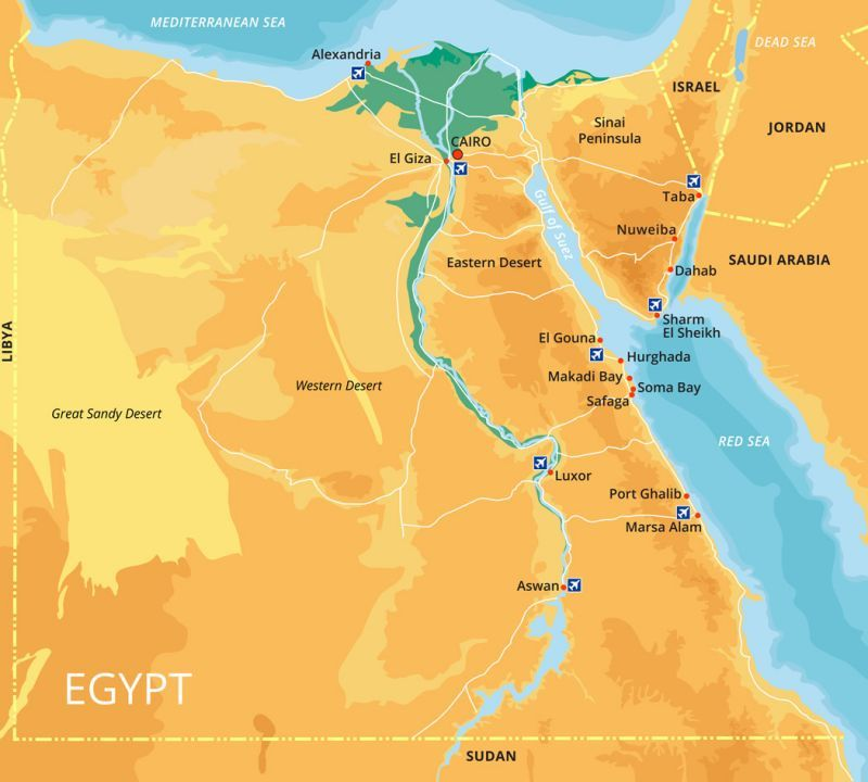 Ägypten Karte: Ägyptische Geografie