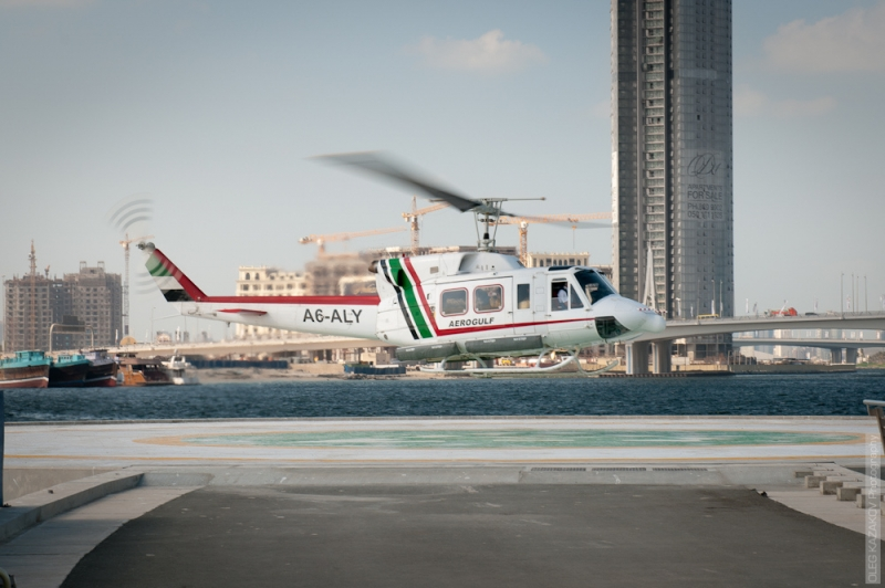 Dubai Helicopter Taking Off
