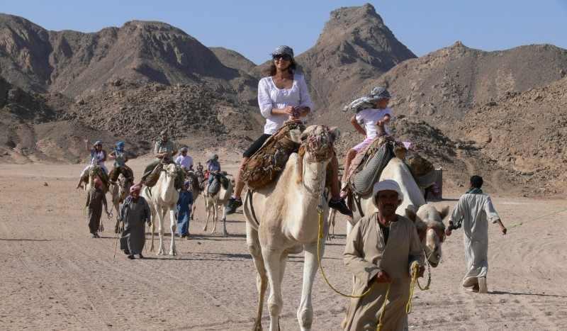 Promenade à dos de chameau dans le désert