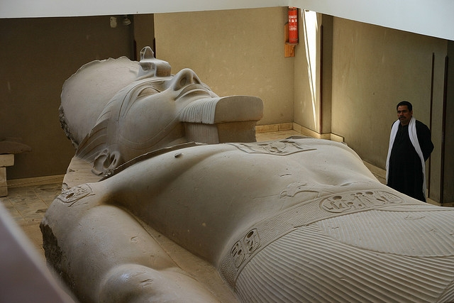 The Statue of Ramses II in Memphis Museum