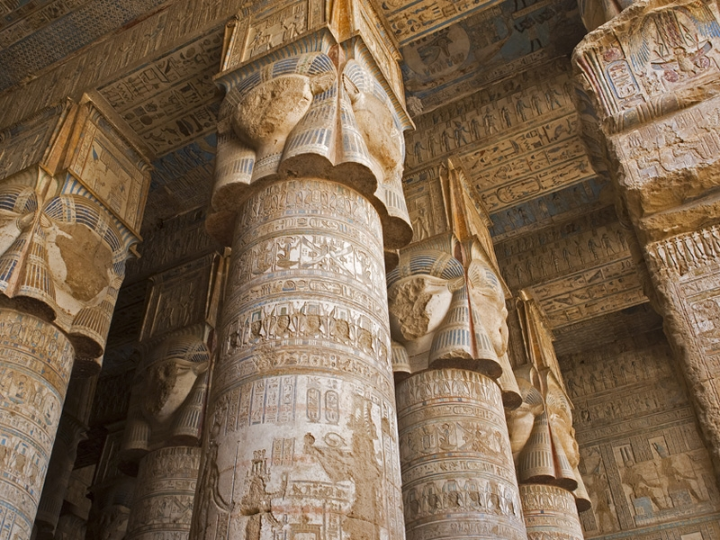 Colorful Inscriptions at Hathor Temple