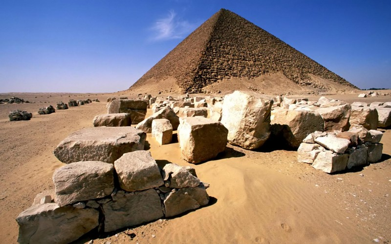 Snofru's Red Pyramid is the world's first true smooth-sided pyramid.