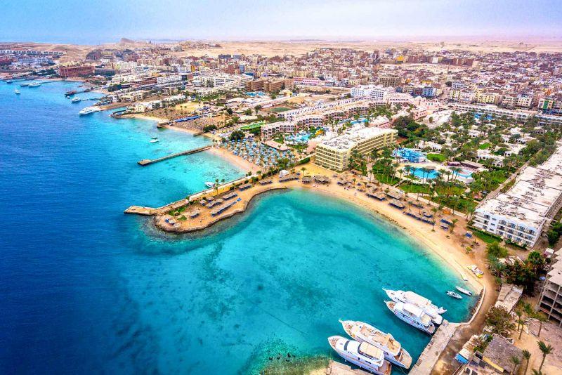 La Ciudad de Hurgada en El Mar Rojo, Egipto