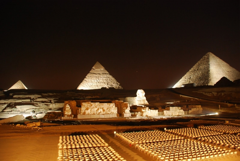 Panoramic view for Giza Pyramids by the night