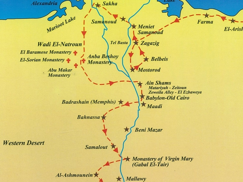 Reiseroute der heiligen Familie durch Ägypten