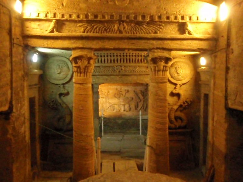 Decorations inside Catacombs of Kom El-Shokafa