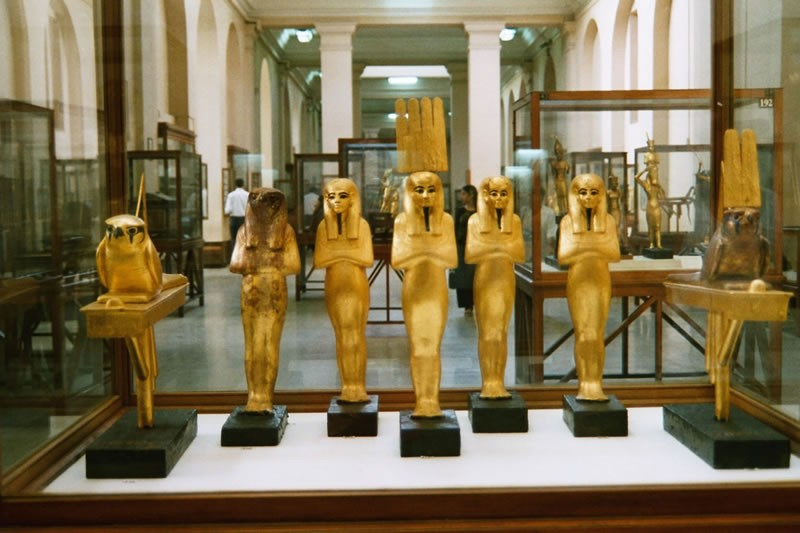 Ancient Golden Statues in The Egyptian Museum, Tahrir Square