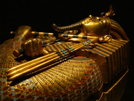 Funeral coffin of King Tut Ankh Amen in  Egyptian Museum of Antiquities