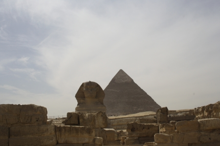 The Great Sphinx with Pyramid background
