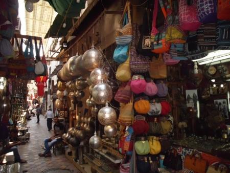 Shops in Khan El Khalili Bazaar , Cairo